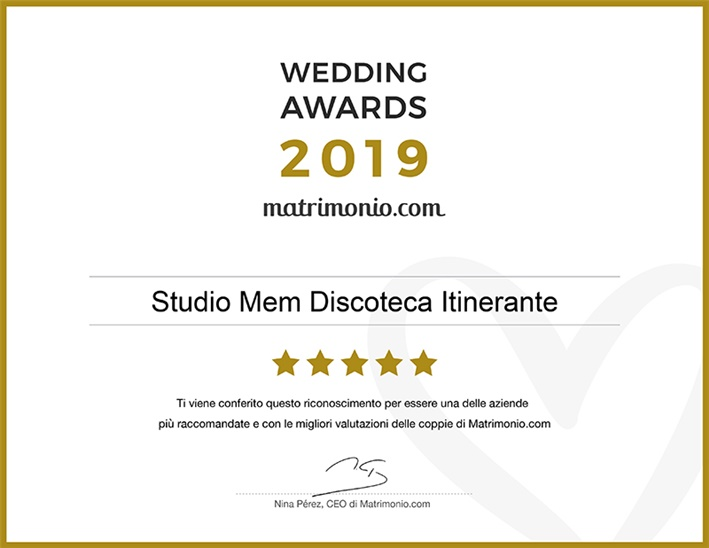 Studio MEM vincitore del Wedding Awards 2019